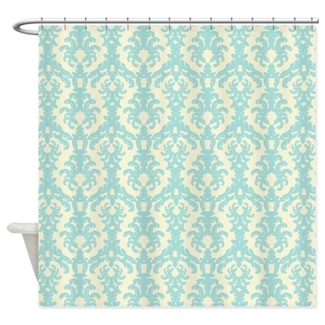 Turquoise And Cream Damask Shower Curtain By BeachBumming