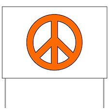 Orange Peace Sign Yard Sign