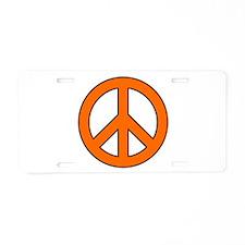 Orange Peace Sign Aluminum License Plate