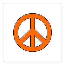 """Orange Peace Sign Square Car Magnet 3"""" x 3"""""""