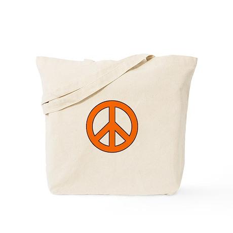 Orange Peace Sign Tote Bag
