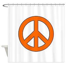 Orange Peace Sign Shower Curtain