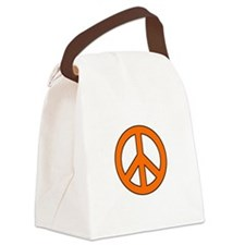 Orange Peace Sign Canvas Lunch Bag