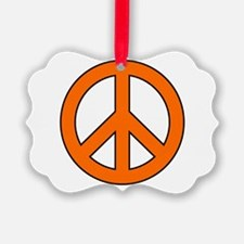 Orange Peace Sign Ornament