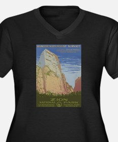 Zion Park Women's Plus Size V-Neck Dark T-Shirt