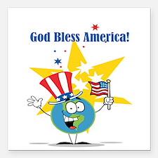 "God Bless America Square Car Magnet 3"" x 3"""