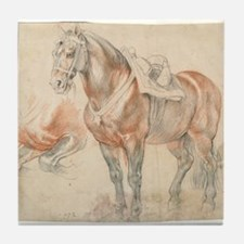 Vintage Drawing of Saddled Horse Tile Coaster