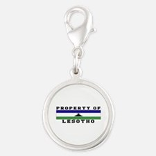 Property Of Lesotho Silver Round Charm