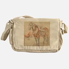 Vintage Drawing of Saddled Horse Messenger Bag