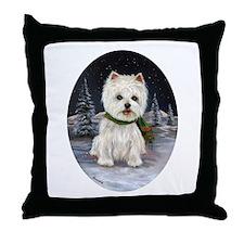 Snow Bunny Westie Throw Pillow