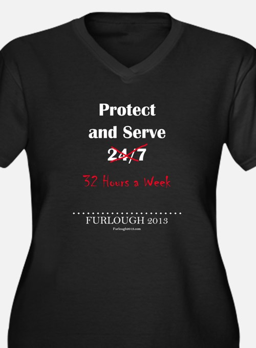 Protect and Serve Women's Plus Size V-Neck Dark T-