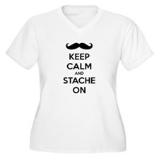 Keep Calm and Stache On Plus Size T-Shirt