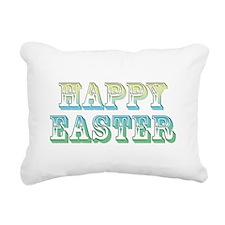 Happy Easter (green/blue) Rectangular Canvas Pillo