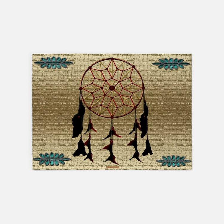 Indian Dreamcatcher 5'x7'Area Rug