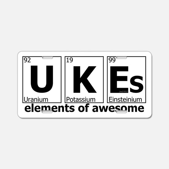 UKEs Elements of Awesome Aluminum License Plate