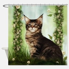 Cute Cat And Rose Shower Curtain
