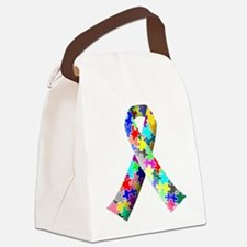 Autism Awareness Puzzle Ribbon Canvas Lunch Bag