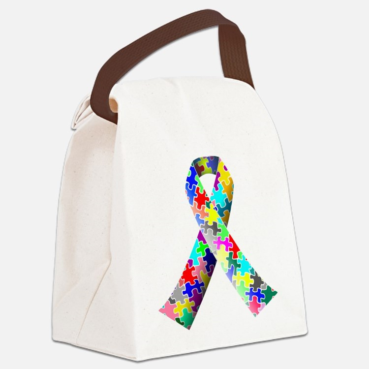 Autism Awareness Puzzle Ribbon Canvas Lunch Bag