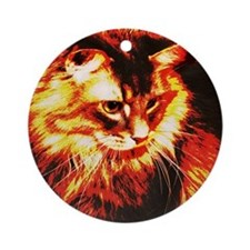 Stylized Maine Coon Cat Ornament (Round)