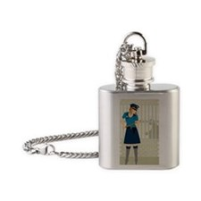 Policewoman standing in front of a  Flask Necklace