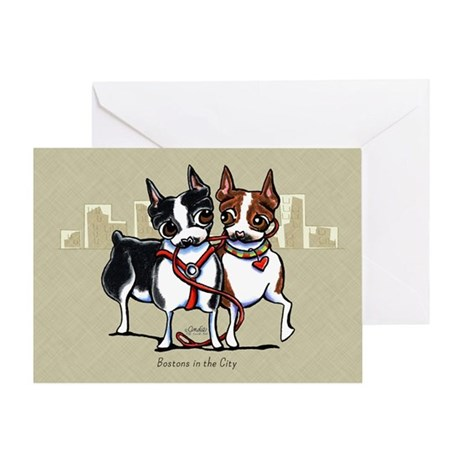 Bostons in the City Greeting Card