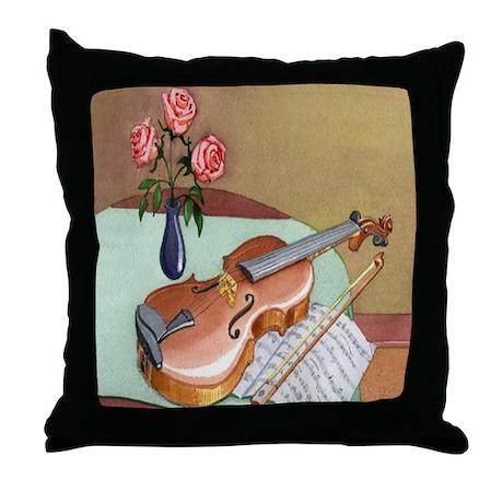 Music Teacher Violin Roses Throw Pillow