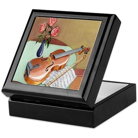 Music Teacher Violin Roses Keepsake Box