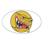 Angry Tennis Ball Oval Sticker