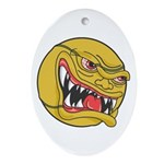 Angry Tennis Ball Oval Ornament