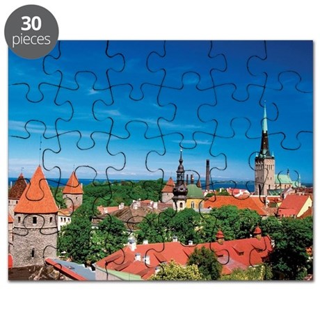 Aerial view of buildings in a city, Tallinn Puzzle