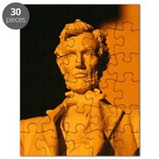 Close-up of an Abraham Lincoln statue, Linc Puzzle