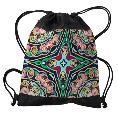 mexican embroidery floral bohemian Drawstring Bag