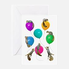Squirrels Balloons Greeting Card