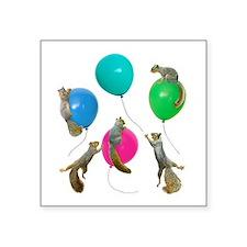 "Squirrels Balloons Square Sticker 3"" x 3"""