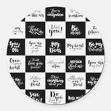 Love Black&White Round Car Magnet