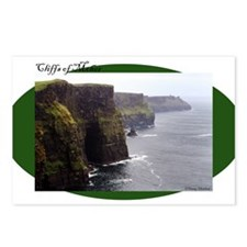 Cliffs of Moher on green oval Postcards (Package o