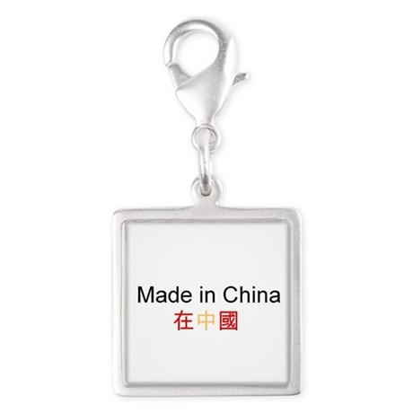 Chinese Pride Silver Square Charm