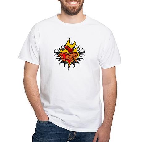 Depp Heart Flame Tattoo White T-Shirt