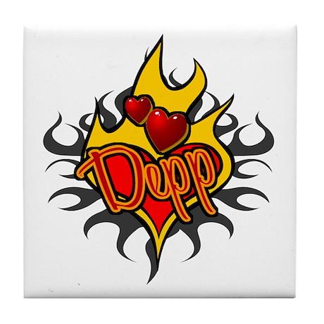 Depp Heart Flame Tattoo Tile Coaster