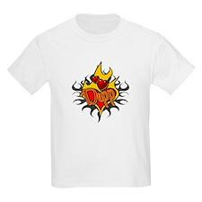 Depp Heart Flame Tattoo Kids T-Shirt