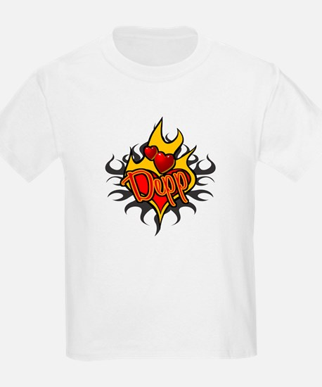 Depp Heart Flame Tattoo Kids T-Shirt