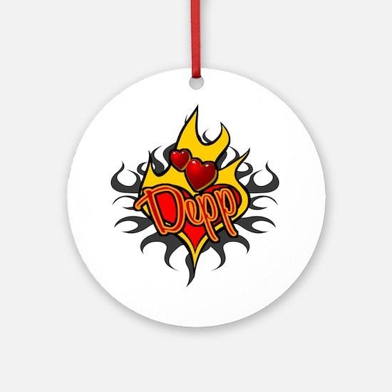 Depp Heart Flame Tattoo Ornament (Round)