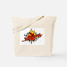 Johnny Heart Flame Tattoo Tote Bag
