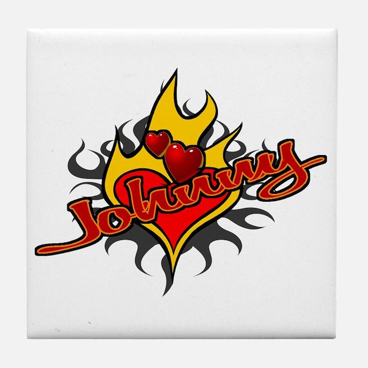 Johnny Heart Flame Tattoo Tile Coaster