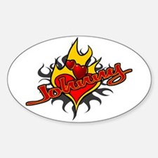 Johnny Heart Flame Tattoo Oval Decal
