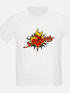 Johnny Heart Flame Tattoo Kids T-Shirt