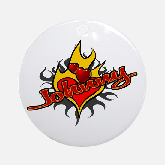 Johnny Heart Flame Tattoo Ornament (Round)