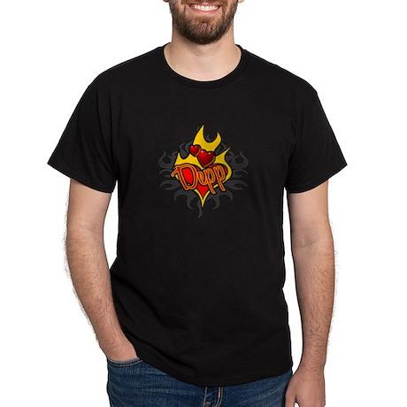 Depp Heart Flame Tattoo Dark T-Shirt