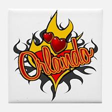 Orlando Heart Flame Tattoo Tile Coaster