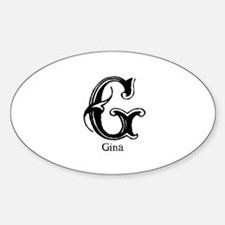 Gina: Fancy Monogram Oval Decal